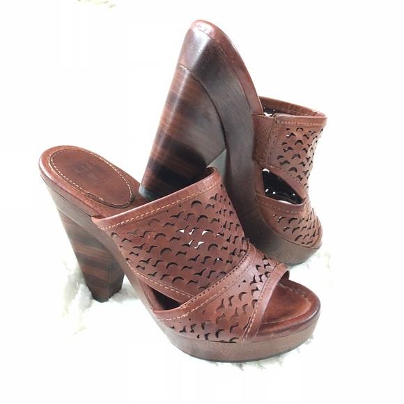 1f8f08bb6a91 Frye Shoes - FRYE Sage Cut leather slide heels Sz 7